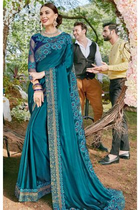 Blue Color Satin Georgette Festival Saree With Coding Work