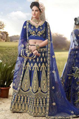 Blue Color Satin Silk Designer Lehenga Choli With Heavy Zari Embroidery Work
