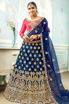 Blue Color Satin Silk Lehenga Choli Heavy Zari Embroidery Work