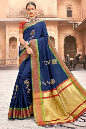 Blue Color Silk Festival Saree With Jacquard Work