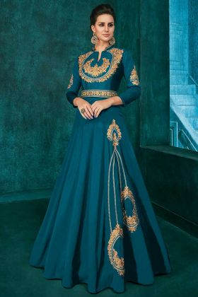 Blue Color Soft Art Silk Gown With Zari Embroidery Work