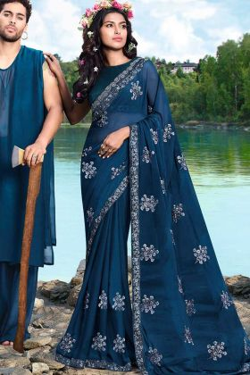 Blue Color Stone Work Georgette Festival Saree