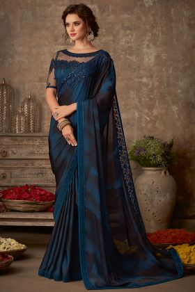 Blue Color Sunshine Silk Wedding Saree With Embroidery Work