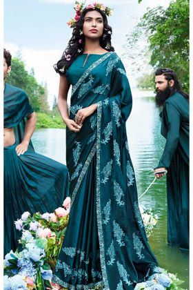 Blue Color Thread Embroidery Work Satin Georgette Wedding Saree