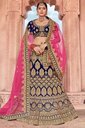 Blue Color Velvet Bridal Lehenga Choli With Stone Work