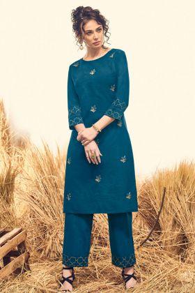 Blue Cotton Stylish Kurti