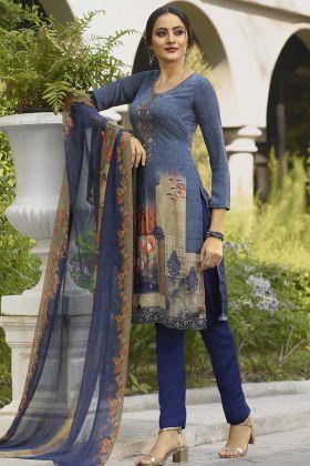 Blue Crepe Casual Salwar Kameez In Digital Print