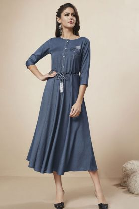 Blue Denim Fancy Kurti Online