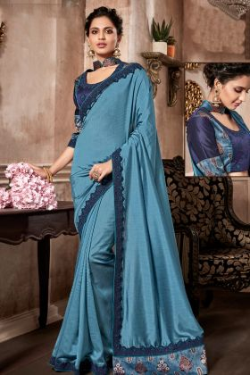Blue Dual Tone Silk Designer Saree