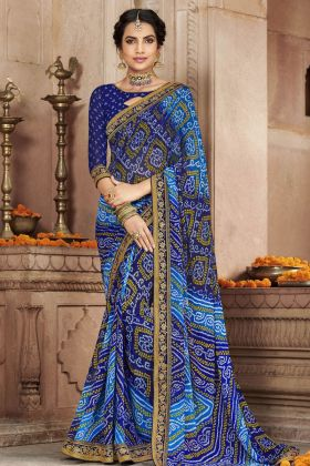 Blue Georgette Bandhej Saree