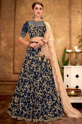 Blue Heavy Taffets Silk Wedding Semi-Stitched Lehenga For Marriage