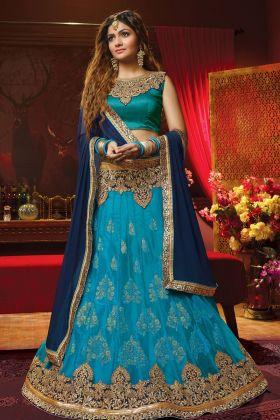 Blue Jacquard Net Festive Lehenga Choli