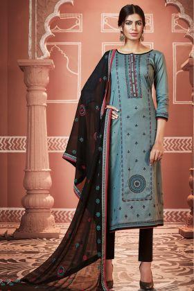 Blue Jam Cotton Silk Pant Style Suit