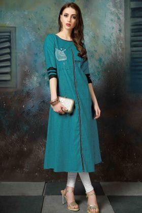 Blue Khadi Cotton Kurti