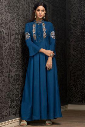 Blue Muslin Party Wear Gown Online