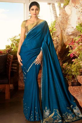 Blue New Model Fancy Sarees In Soft Silk Fabric