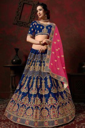 Blue Nylon Satin Bridal Lehenga Choli