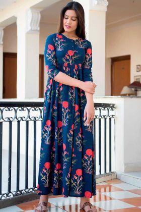 Blue Pure Muslin Anarkali Style Gown