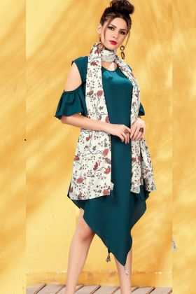 Blue Rayon Digital Printed Kurti