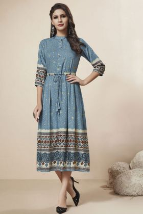 Blue Rayon Foil Stylish Kurti