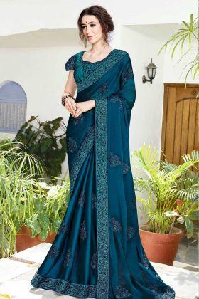 Blue Satin Chiffon Festive Saree Online