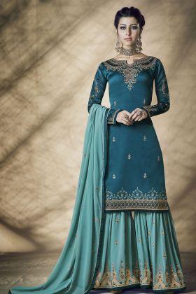Blue Satin Georgette Sharara Suit