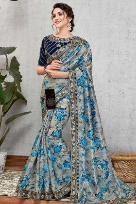 Blue Silk Digital Print Sarees For Women