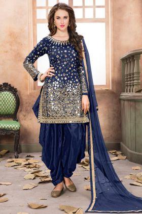 Blue Taffeta Silk Embroidered Patiala Salwar Kameez