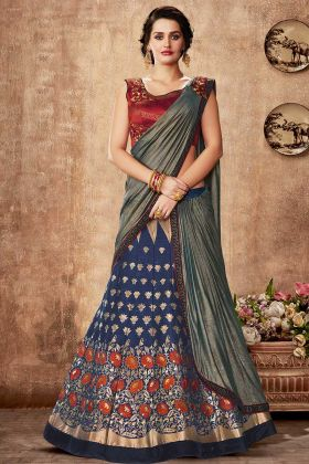 Blue Weaved Silk Bollywood Lehenga Style Saree