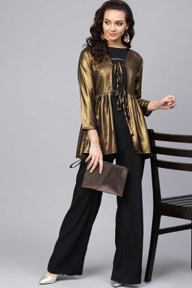 Bold Look Indo-Western Black Top And Bottom Copper Georgette Shrug