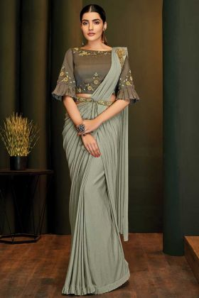 Bollywood Designer Party Wear Sarees In Grey