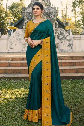 Bollywood Saree Prachi Desai Chinon Chiffon Dark Rama And Mustard Color
