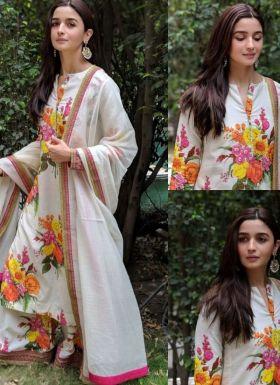 Bollywood Style Alia Bhatt White Printed Salwar Suit