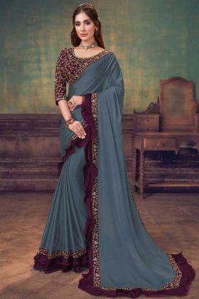 Bollywood Style Blue Grey Silk Georgette Saree