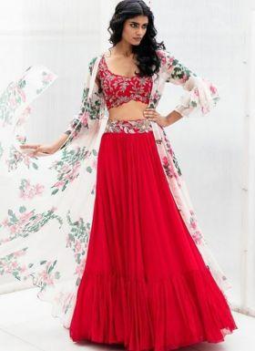 Bollywood Style Red Indo Western Lehenga