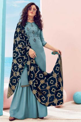 Bollywood Style Steel Blue Pure Viscose Maslin Suit