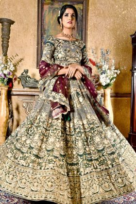 Botal Green Chennai Silk Bridal Lehenga Choli
