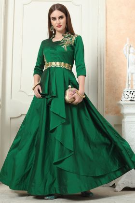 Bottle Green Color Taffeta Silk Gown Online