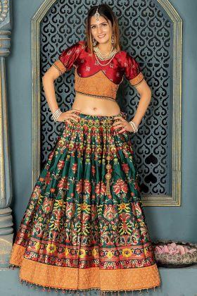 Bottle Green Color Banarasi Silk Lehenga Choli With Dori Work