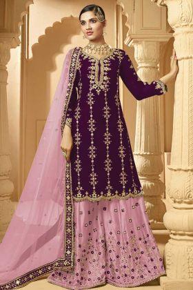 Branded Designer Heavy Georgette Plazzo Suit In Purple Color