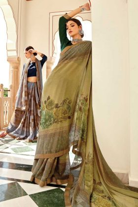 Brasso Silk Floral Designing Green Color Latest Saree