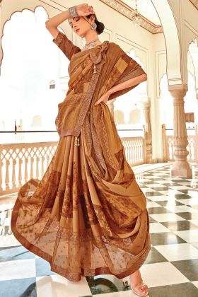 Brasso Silk Stunning Floral Designer Brown Color Saree