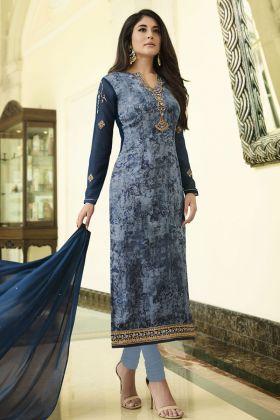 Brasso Dark Blue Salwar Suit