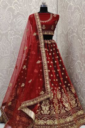 Bridal Lehenga Collection In Maroon Velvet Fabric