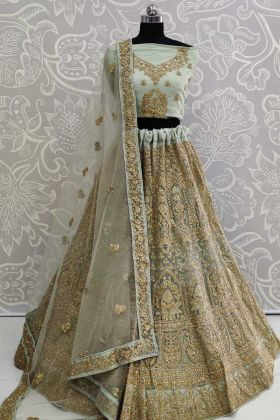 Bridal Lehenga Net Fabric With pastel Green Color
