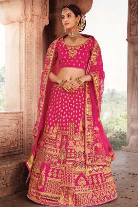 Bridal Wear Magenta Color Heavy Designer Silk Fabric Lehenga Choli