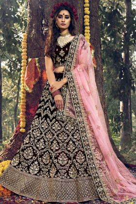 Bridal Wear Maroon Color Pure Velvet Lehenga Choli With Stone Dori Work