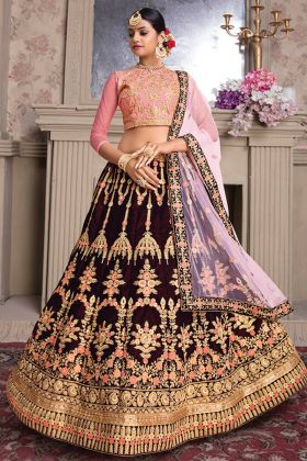 Bridal Wear Maroon Color Velvet Heavy Lehenga Choli