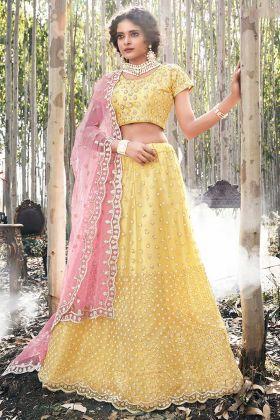 Bridal Wear Net A-Line Lehenga Yellow Color