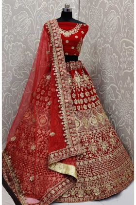 Bridal Wear Velvet Red Color Lehenga Choli